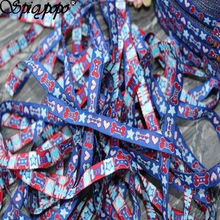 Spicypopo Cartoon Woven Jacquard ribbon Polyester Webbing Bone heart stars in blue 11yards in 10mm(China)
