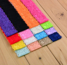 1.5'' Stretch Embroidered Lace Fabric Trim Elastic Lace For DIY Sewing Headband Garters Hair Accessories 16 colors