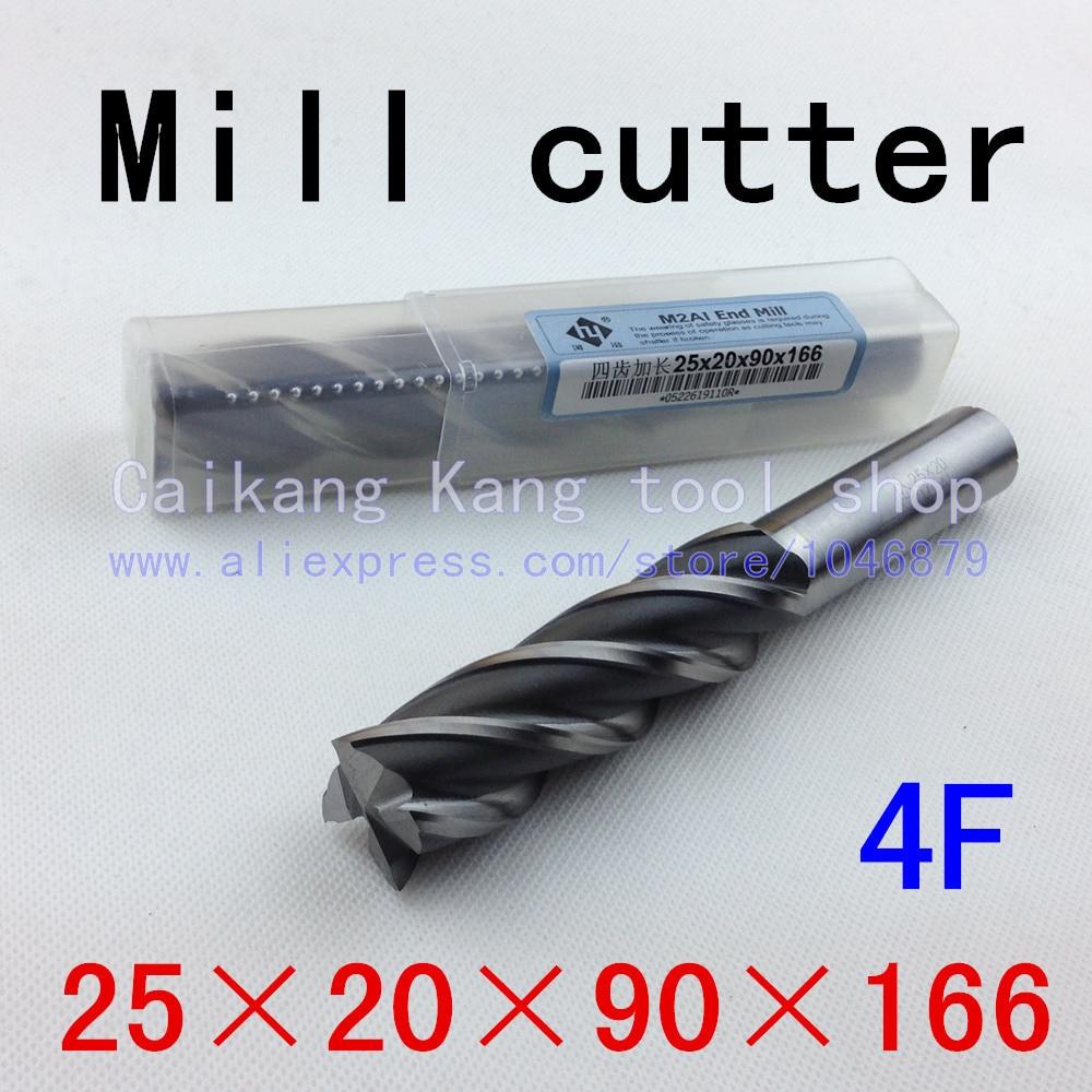 New 4Flutes 4F25*20*90*166mm M2AI Dia 25mm End Mill Router Bit Milling Cutter Machine CNC Drill Tool Super-Hard High Speed Steel<br><br>Aliexpress