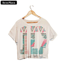 "SexeMara New Sale ""1D"" Printed T shirts Fashion Short Sleeve Dew Navel Crop Tops Harajuku Casual Sexy Fitness Women Top Tee F988"