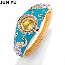 JUNYU Peacock WristWatch 2017 18K Gold Women Luxury Quartz Watches Synthetic Ruby Paint Bead Crystal Rhinestone