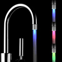 Magic 3color RGB Glow LED Light Water Faucet Temperature Sensor Controlled Tap with Faucet Diverter Valve Adapter Color Changing(China)