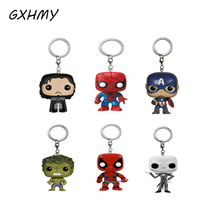 GXHMY Marvel Funko Pop Game of Thrones Super Hero Keychain Deadpool Captain America The Walking Dead Action Figure