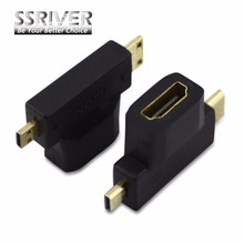 SSRIVER 10pcs/lot HDMI Micro / MINI DM/CM Male to HDMI A Female AF triple cd Revolution Phone Tablet(China)