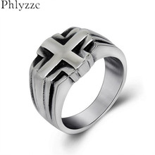 Top Quality Concise Cross Rings For Women Man's Goth Biker Christian Ring Stainless Steel Motorcycle Rings Jewelry Male R560(China)