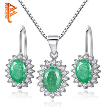 BELAWANG Vintage 925 Sterling Silver Crystal Jewelry Set Hoop Earring&Pendant Necklace For Women Party Queen Jewelry