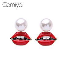 Comiya Brand Acrylic Imitation Pearl Teeth Red Lip Enamel Glazed Process Stud Earrings Gold Clor Plated Earring Boucle D'oreille