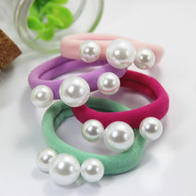 4 Pcs/Lot Adorable Sweet Candy Color Pearls Elastic Hair Ropes Bands Ropes Kids Hair Accessories FQ20151002