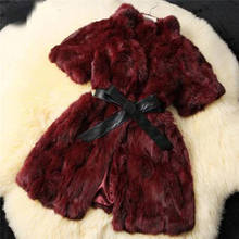 High-Grade Womens Jacket Parka Coats Half Sleeve Real Rabbit Fur Overcoat 235 Sky Blue Orange Wine Red