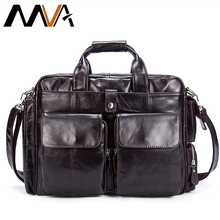 MVA Business Men Briefcase Handbags Leather Laptop Bag Men Messenger Bags Genuine Leather Men Bag Male Shoulder Bags Casual Tote