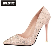 SIMLOVEYO 2016 New Fashion Sexy Women Silver Rhinestone Wedding Shoes Platform Pumps High Heels Crystal Shoes Gold Black Pink
