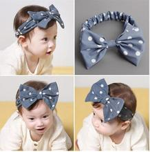 2 Colors Beautiful Baby Girls Bowknot White Dot Headbands with Elastic Hairband Kids Children DIY Garments Hair Accessories
