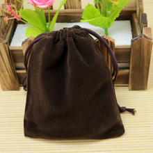 Wholesale 9x12cm Drawstring Brown Velvet Bags Pouches Jewelry Bags Christmas Valentines Gifts Bags 100pcs/lot