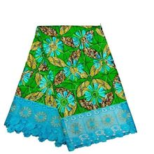 6Y/pc Nice looking green Hollandais printed wax fabric Nigerian Super wax flower design african blue cord lace for dress LBL13-1