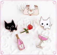 ShuangShuo Lovely Animal Cartoon Cat Kitty Enamel Pins Cocktail Wine Vintage Brooch Rose Flower Brooches for Women Pin Badge