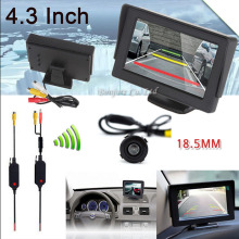 "Wholesale Wireless Car Kit 4.3"" TFT LCD vehicle SCREEN Monitor CCD Mini Reverse back up Rearview camera Parking Sensor System"