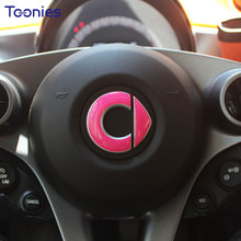 Smart 453 Fortwo Forfour Logo Interior Steering Wheel Car Styling Cap Stickers on Cars Bone Sticker Carbon Film Auto Accessories