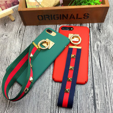 Fashion metal buckle hand strap phone case for apple iphone 5 5s 6 6s 6plus 7 7plus cool hard pc back cover