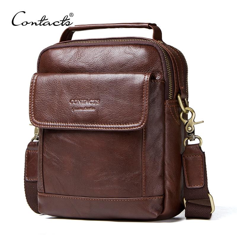 Contacts Mens Genuine Leather Crossbody Single-Shoulder 8 Mini iPad Messenger Tote Bag