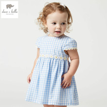 DB4721 dave bella summer baby girl princess dress blue plaid dress baby daisy dress kids toddle dress cute clothes dress