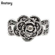 Buy Cute Rose Flower Rhinestone Rings Women Vintage Antique Silver Plated Part Gift Fashion Jewelry TR460 for $1.37 in AliExpress store