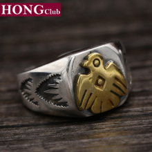 100% 925 Sterling Silver Men Jewelry Fashion Fine Jewelry Japan Takahashi Golden Eagle Ring Brand Fine jewelry YR13