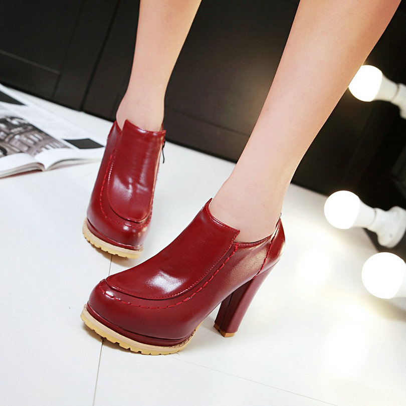 Black Ladies Summer Shoes Square High Heel PU leather Platform Woman Pumps Pointed Toe Zipper Ladies Wedding Shoe Size 35-43<br>