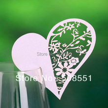 Heart Haped White and Purple Hollow-out Place Cards Glass Card  For Party 12pcs