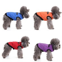 New Autumn Winter Clothes For Pet Dogs Pet Zipper Polyester Leather Buckle Casual Jacket Dog's Clothes(China)