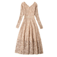 Buy 2018 New Women Lace Long Dress Spring Autumn Temperament Thin Long Sleeve V-Neck Female Dress Party Slim Dress YP0870 for $25.99 in AliExpress store