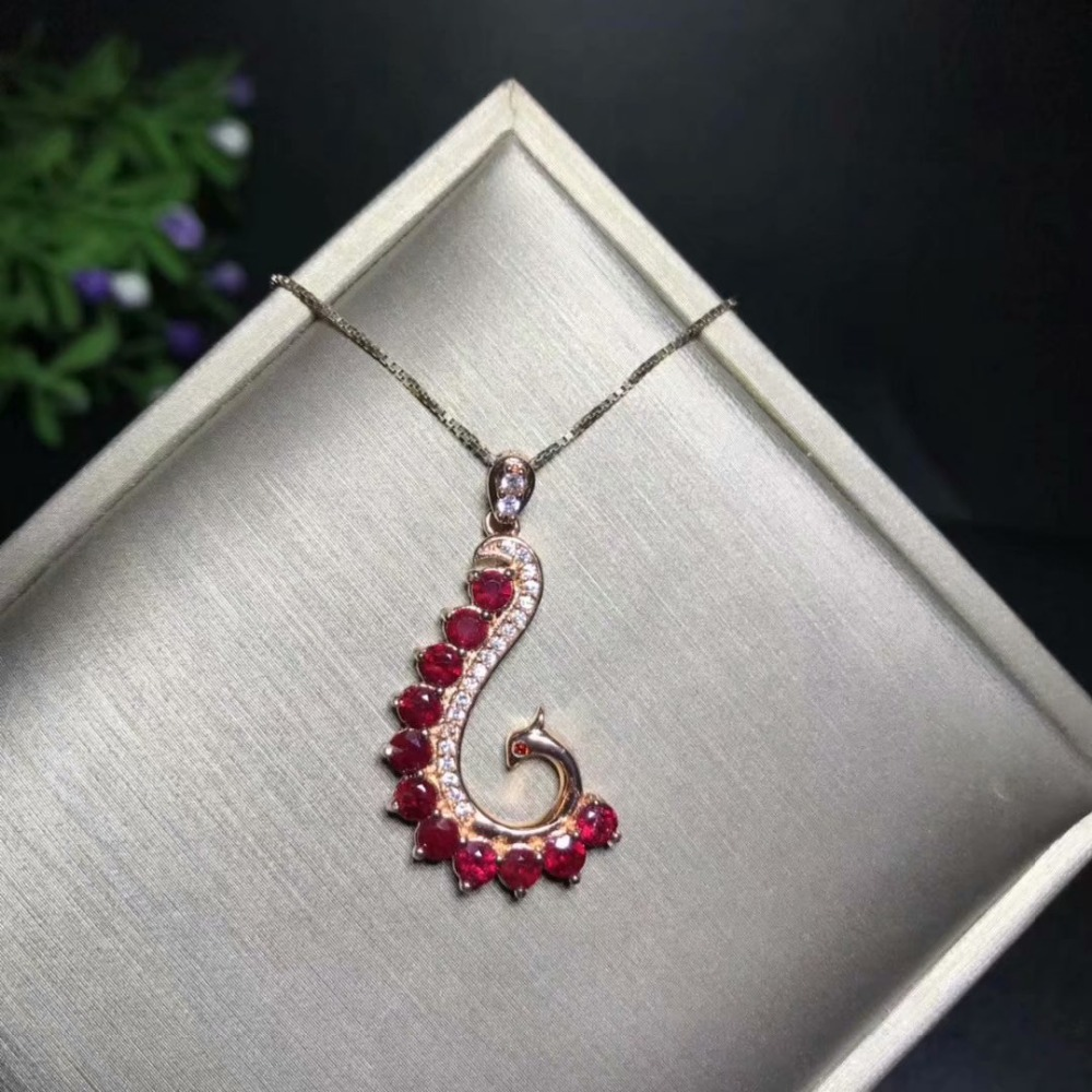 Natural Ruby necklace pendantRound 3mm 925 sterling silver necklace pendant  Deluxe Style