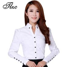 TLZC Elegant Women Career White Shirts Size S-2XL Long Sleeve Button Design Clothing 2017 Office Classic Lady Casual Blouses(China)