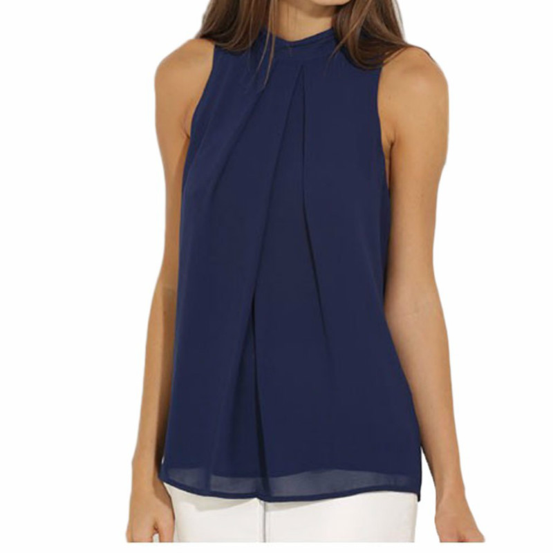 Women Chiffon Back Hollow Blouses Fashion 2017 New Beach Summer Sleeveless Tops Elegant Pleated Blusas Femininos Plus Size M0173 2