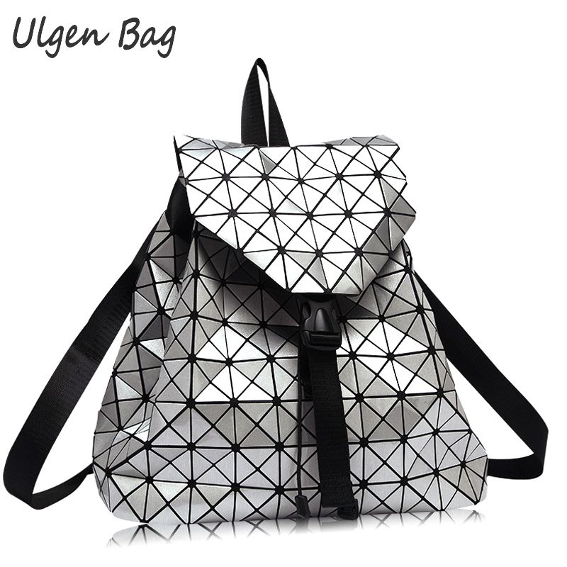 Women Daypacks 2016 BaoBao Backpack Silver Geometric patchwork diamond lattice backpacks famous brand drawstring bag<br>