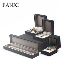 FANXI Free Shipping Black Color PU leather Jewelry Box For Wedding Ring Pendant Bracelet Bangle Packing Boxes Counter Showcase