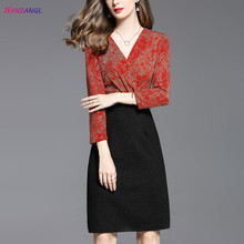 HANZANGL High quality 2017 Autumn Women Dress V-neck Elegant Sexy Work Casual Party Fitted Pencil Sheath Dress Mother clothing(China)