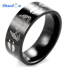 SHARDON jewelry wedding band Men's 8MM Pipe Carved Black Deer Antlers&Tracks Titanium Two Tone Buck Ring outdoor(China)