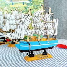Craft Carving Nautical Sailing Ship Model Wooden Sailboat Model Mediterranean Style Boats Yacht Model Home Decor