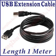 Best Price, 100CM Long USB 2.0 Male to Female Extension Extended Black Data Cable 1M length USB Extension Cable,