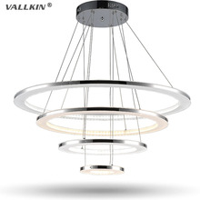 VALLKIN Luxury Acrylic Chandeliers Lighting Modern Hanging Lamps Fixtures for Indoor Home with 4 Ring 76W 20406080CM CE FCC ROHS