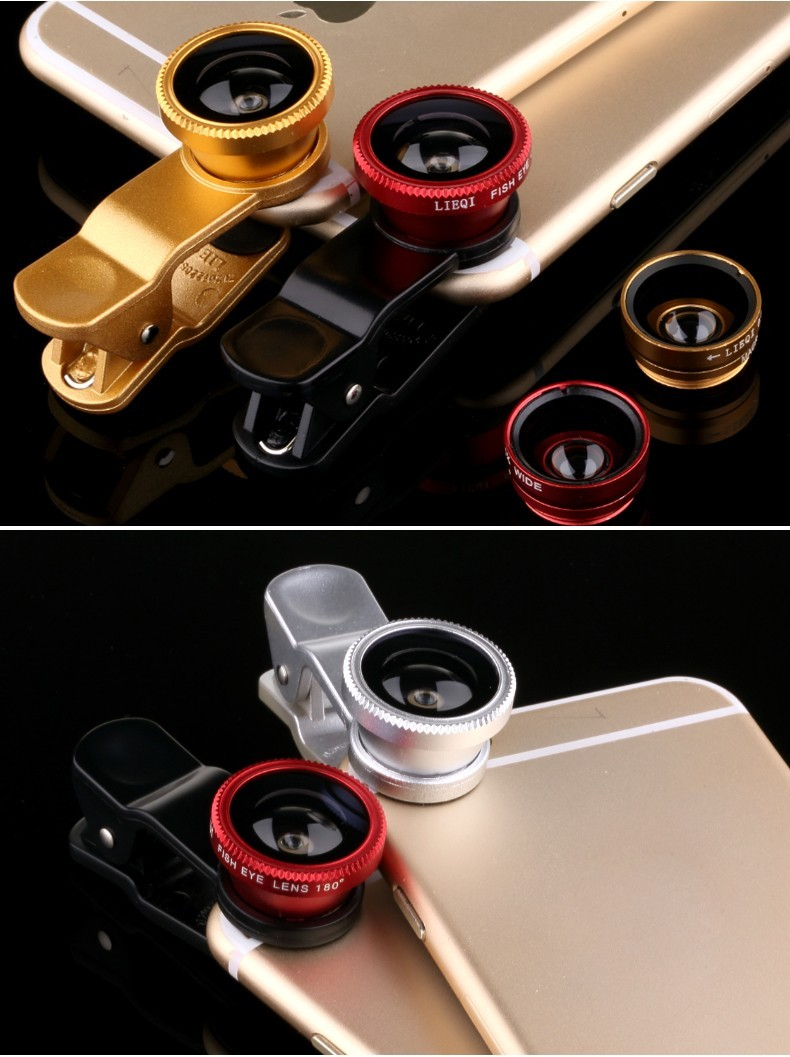Fisheye Lens 3 in 1 mobile phone clip lenses fish eye wide angle macro camera lens for iphone 6 6s plus 7/7 plus xiaomi huawei 9
