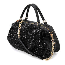2016 Sequin Women Leather Handbags Bling Black Womens Designer Bags With Brand Bag Shoulder Message Bags(China)