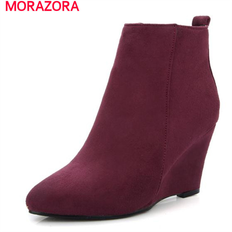 MORAZORA 2017 pointed toe flock plain wedges ankle boots for women elegant contracted large size 34-43 party dress shoes<br><br>Aliexpress