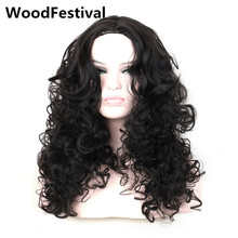 real picture wavy black wig long curly wigs for black women synthetic hair wigs heat resistant wig fluffy WoodFestival(China)