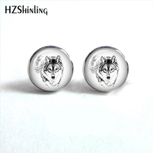 NES-0056 White Wolf Earrings Wolf Howling at the Moon Ear Studs Wolf Jewelry Stud Earrings For Woman Men HZ4(China)