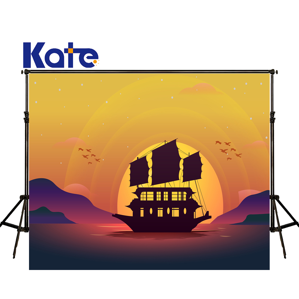 KATE Photography Backdrops Cartoon Photography Backdrop Scenery Backdrop Sunshine Kids Background Sunset Photo for Studio<br>