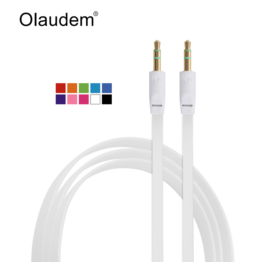 AUX Cable 3.5 mm Male to Male Stereo Audio Extension Flat Cable For Mobile Phone Tablet PC MP3 Mp4 Player and Car Stereo AXC218(China (Mainland))
