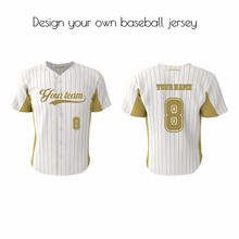 Customized baseball jersey pinstripe full button style sublimated shirt