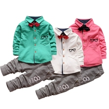 Baby Boy Clothing Sets Children Bow tie T-shirts glasses cartoon+ pants Cotton Cardigan Two Piece Suit New Arrival