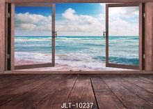 SJOLOON 9x6ft blue sea photo background for children backdrops wood thin flloor vinyl for photo studio photographic backdrops(China)